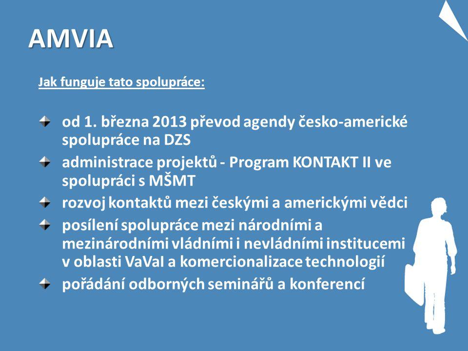 AMVIA Jak funguje tato spolupráce: od 1. března 2013 převod agendy česko-americké spolupráce na DZS administrace projektů - Program KONTAKT II ve spol