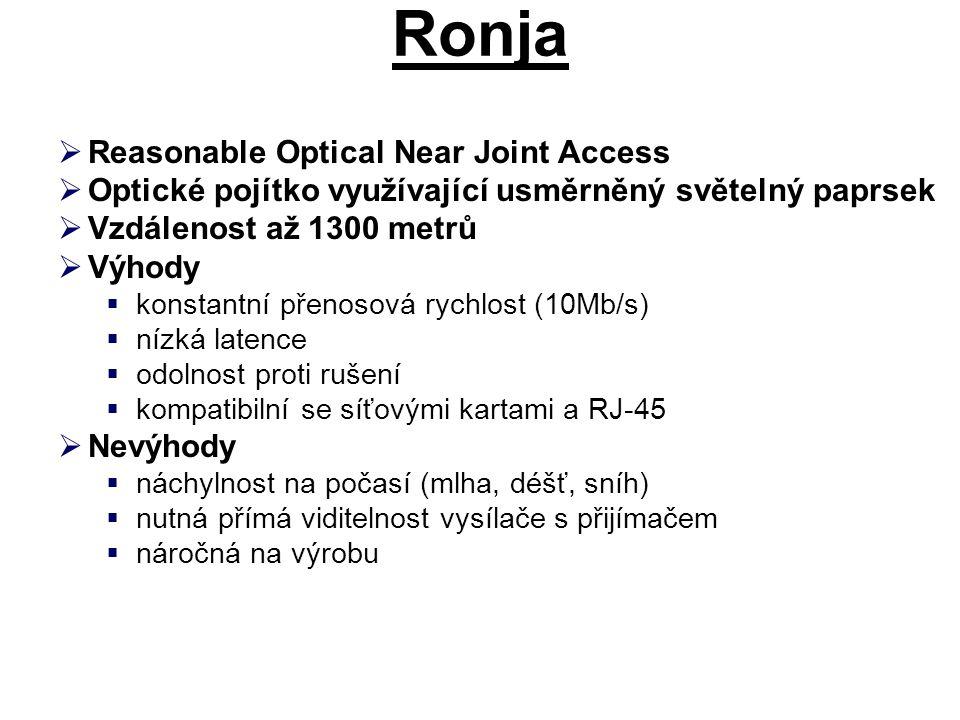 Ronja  Reasonable Optical Near Joint Access  Optické pojítko využívající usměrněný světelný paprsek  Vzdálenost až 1300 metrů  Výhody  konstantní přenosová rychlost (10Mb/s)  nízká latence  odolnost proti rušení  kompatibilní se síťovými kartami a RJ-45  Nevýhody  náchylnost na počasí (mlha, déšť, sníh)  nutná přímá viditelnost vysílače s přijímačem  náročná na výrobu