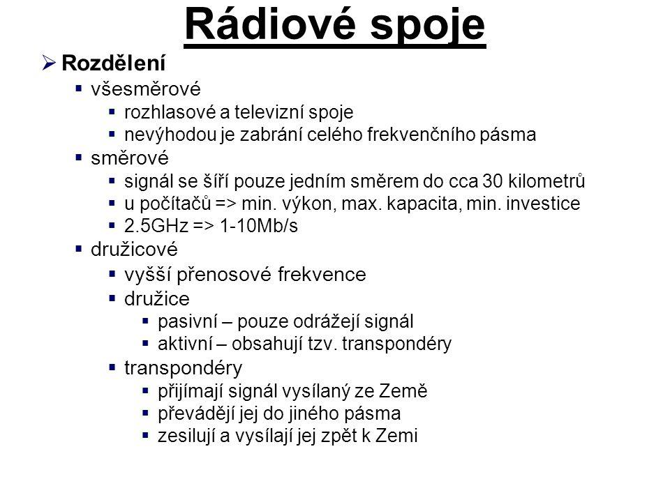 Rádiové spoje  Rozdělení  všesměrové  rozhlasové a televizní spoje  nevýhodou je zabrání celého frekvenčního pásma  směrové  signál se šíří pouze jedním směrem do cca 30 kilometrů  u počítačů => min.