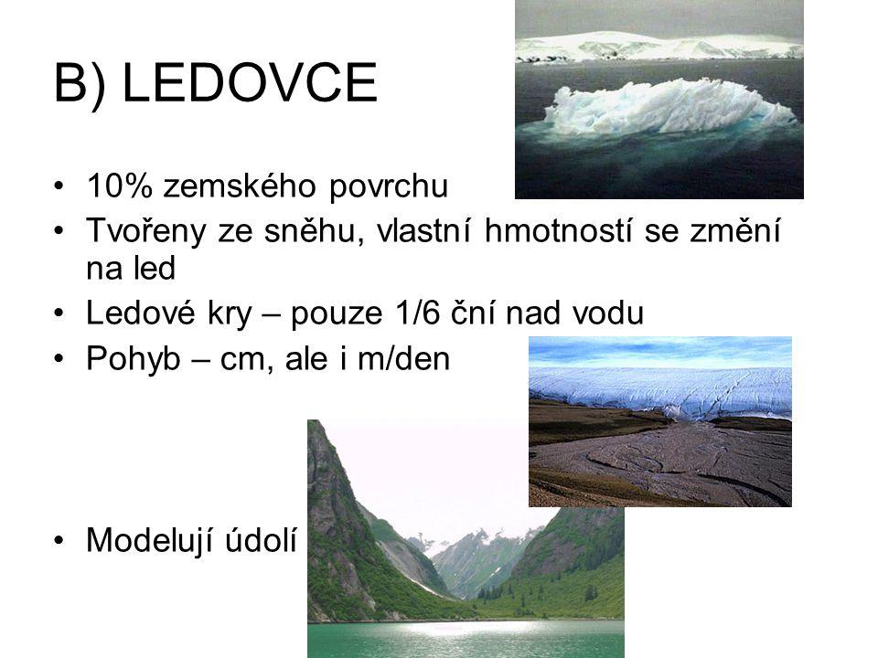 B) LEDOVCE 10% zemského povrchu Tvořeny ze sněhu, vlastní hmotností se změní na led Ledové kry – pouze 1/6 ční nad vodu Pohyb – cm, ale i m/den Modelují údolí