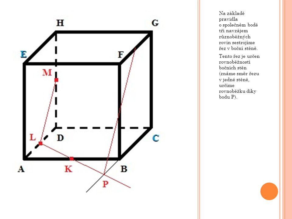 Na základě pravidla o společném bodě tří navzájem různoběžných rovin sestrojíme řez v boční stěně. Tento řez je určen rovnoběžností bočních stěn (znám
