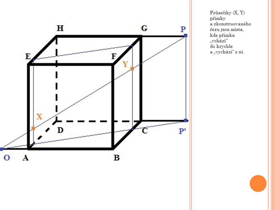 """Průsečíky (X, Y) přímky a zkonstruovaného řezu jsou místa, kde přímka """"vchází"""" do krychle a """"vychází"""" z ní."""