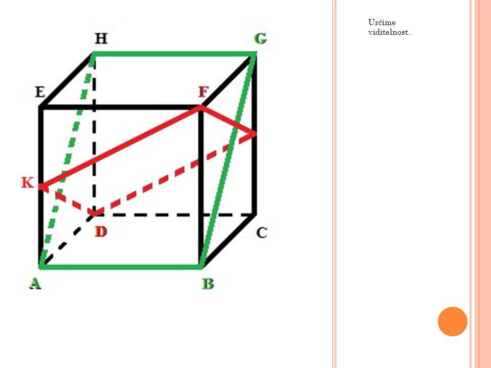"""Průsečíky (X, Y) přímky a zkonstruovaného řezu jsou místa, kde přímka """"vchází do krychle a """"vychází z ní."""