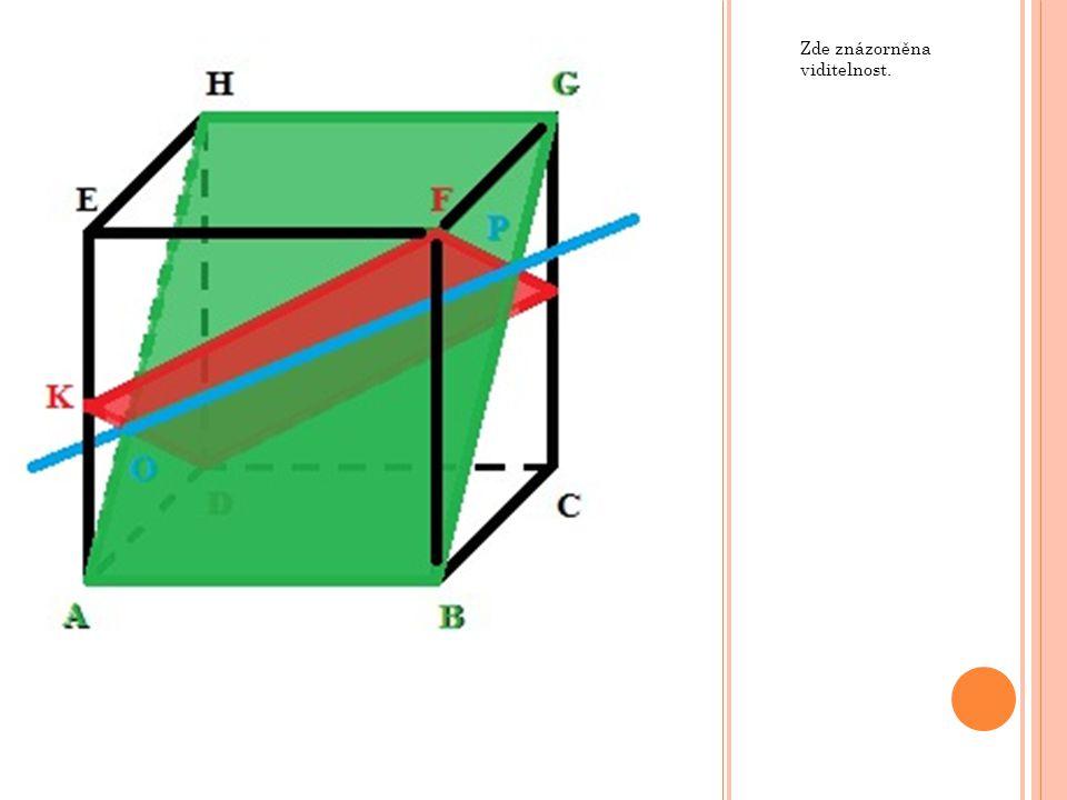 V krychli ABCDEFGH určete průsečnici rovin BFH a KLM, kde body K, L a M jsou po řadě středy hran BC, CG a EH.