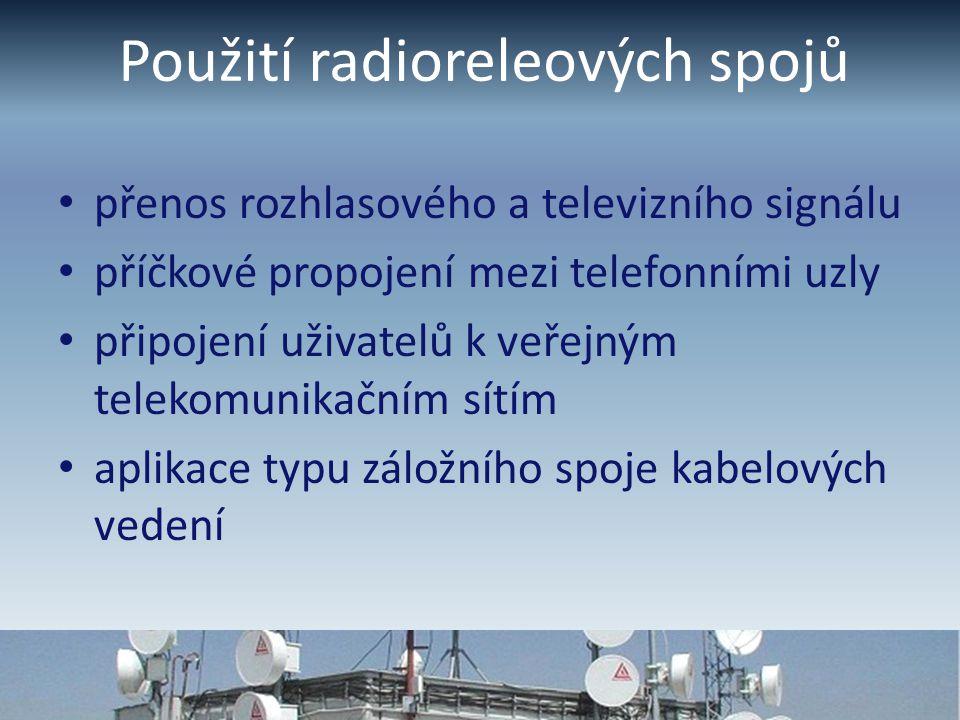 Použití radioreleových spojů přenos rozhlasového a televizního signálu příčkové propojení mezi telefonními uzly připojení uživatelů k veřejným telekomunikačním sítím aplikace typu záložního spoje kabelových vedení