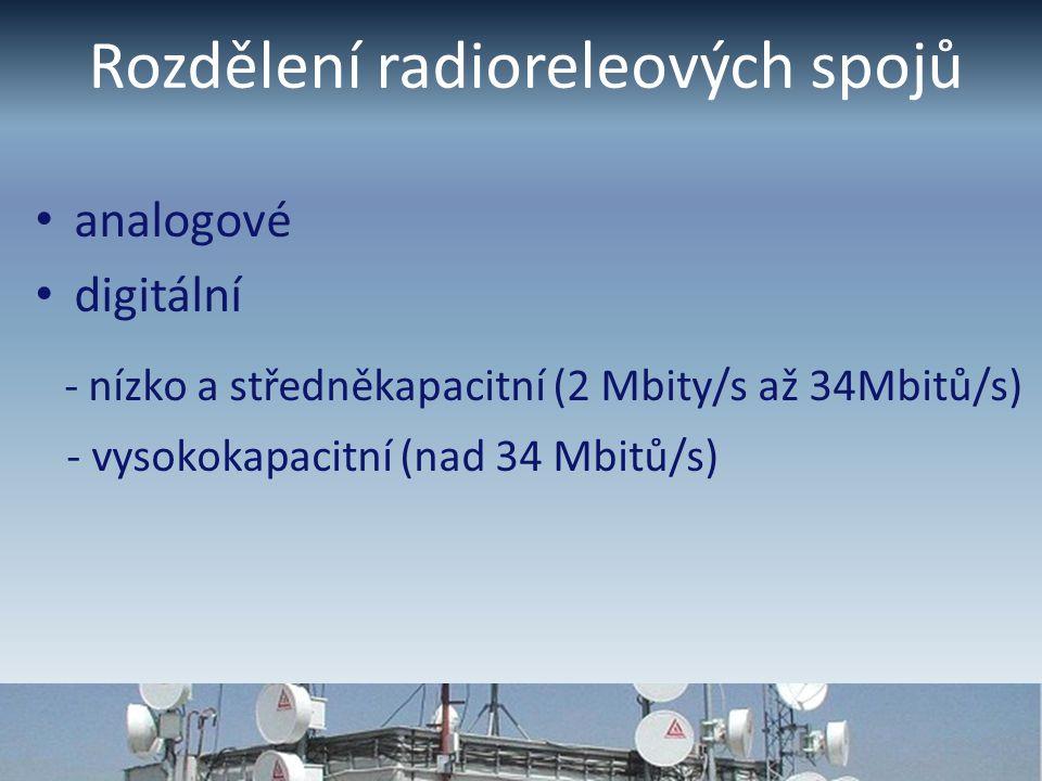 Rozdělení radioreleových spojů analogové digitální - nízko a středněkapacitní (2 Mbity/s až 34Mbitů/s) - vysokokapacitní (nad 34 Mbitů/s)