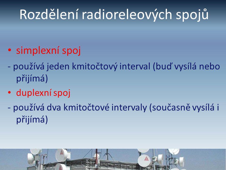 Rozdělení radioreleových spojů simplexní spoj - používá jeden kmitočtový interval (buď vysílá nebo přijímá) duplexní spoj - používá dva kmitočtové intervaly (současně vysílá i přijímá)