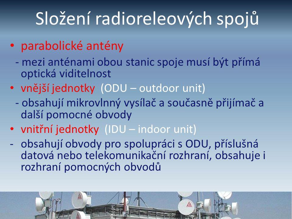Složení radioreleových spojů parabolické antény - mezi anténami obou stanic spoje musí být přímá optická viditelnost vnější jednotky (ODU – outdoor unit) - obsahují mikrovlnný vysílač a současně přijímač a další pomocné obvody vnitřní jednotky (IDU – indoor unit) -obsahují obvody pro spolupráci s ODU, příslušná datová nebo telekomunikační rozhraní, obsahuje i rozhraní pomocných obvodů