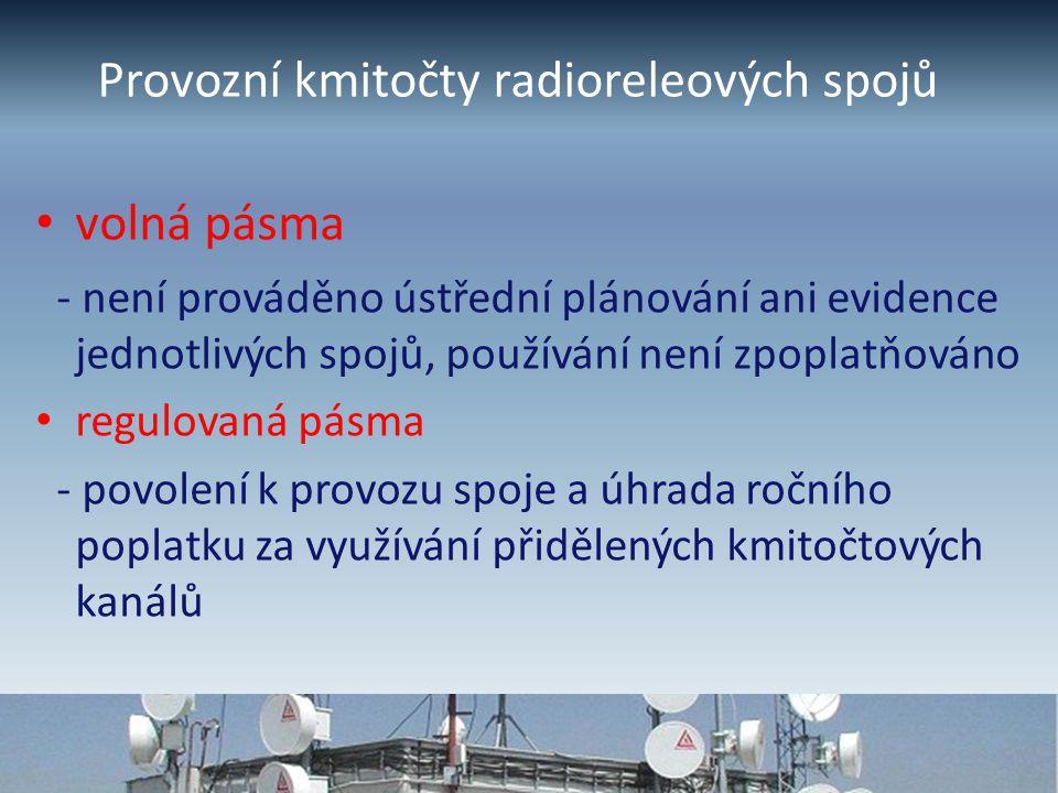 Provozní kmitočty radioreleových spojů volná pásma - není prováděno ústřední plánování ani evidence jednotlivých spojů, používání není zpoplatňováno regulovaná pásma - povolení k provozu spoje a úhrada ročního poplatku za využívání přidělených kmitočtových kanálů