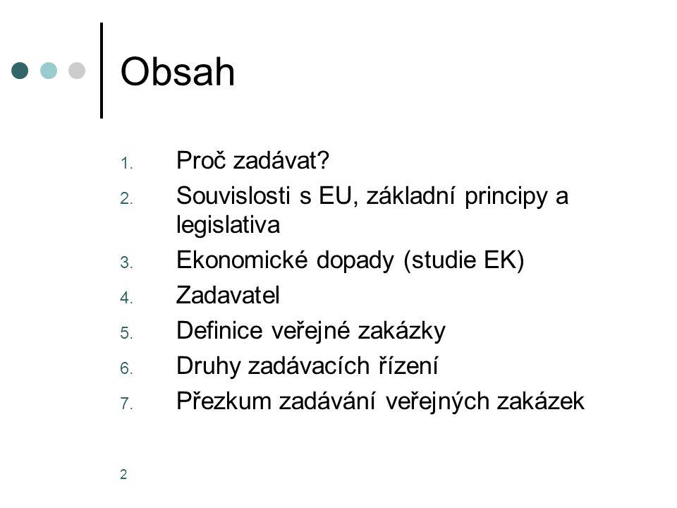 2 Obsah 1.Proč zadávat. 2. Souvislosti s EU, základní principy a legislativa 3.
