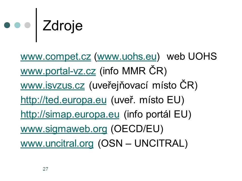 27 Zdroje www.compet.czwww.compet.cz (www.uohs.eu) web UOHSwww.uohs.eu www.portal-vz.czwww.portal-vz.cz (info MMR ČR) www.isvzus.czwww.isvzus.cz (uveřejňovací místo ČR) http://ted.europa.euhttp://ted.europa.eu (uveř.