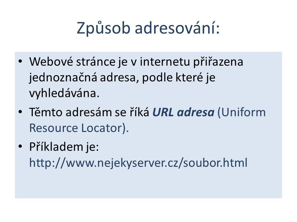 Způsob adresování: Webové stránce je v internetu přiřazena jednoznačná adresa, podle které je vyhledávána.