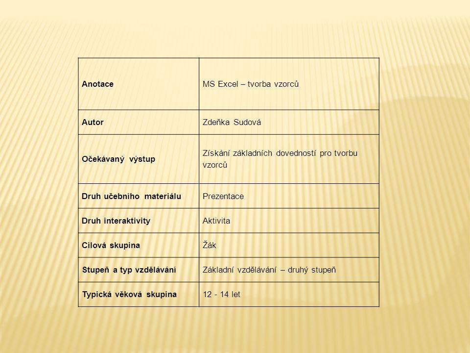 AnotaceMS Excel – tvorba vzorců AutorZdeňka Sudová Očekávaný výstup Získání základních dovedností pro tvorbu vzorců Druh učebního materiáluPrezentace