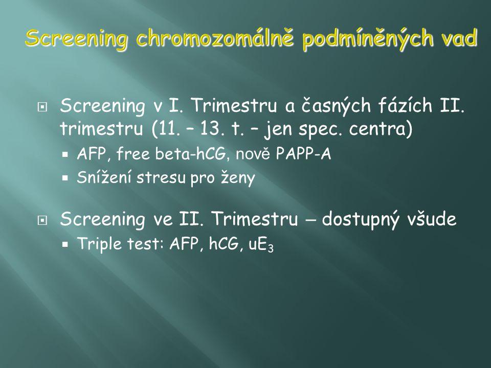  Screening v I. Trimestru a časných fázích II. trimestru (11. – 13. t. – jen spec. centra)  AFP, free beta-hCG, nově PAPP-A  Snížení stresu pro žen