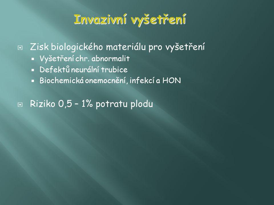  Zisk biologického materiálu pro vyšetření  Vyšetření chr. abnormalit  Defektů neurální trubice  Biochemická onemocnění, infekcí a HON  Riziko 0,