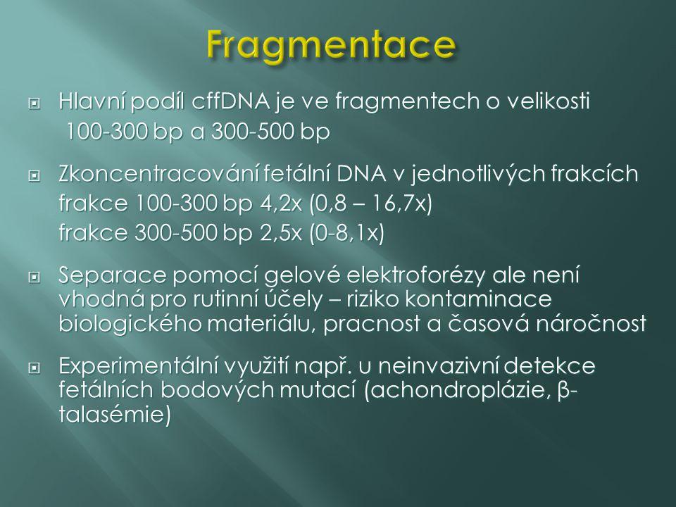  Hlavní podíl cffDNA je ve fragmentech o velikosti 100-300 bp a 300-500 bp 100-300 bp a 300-500 bp  Zkoncentracování fetální DNA v jednotlivých frak