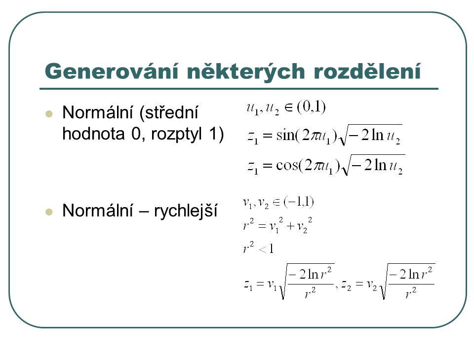 Generování některých rozdělení Normální (střední hodnota 0, rozptyl 1) Normální – rychlejší