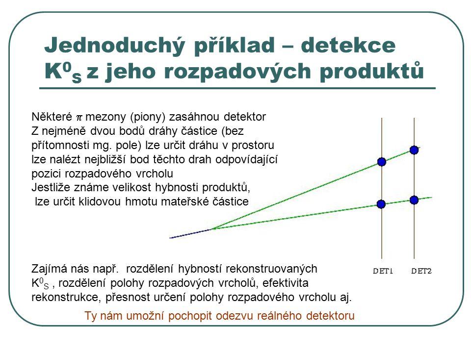 Jednoduchý příklad – detekce K 0 S z jeho rozpadových produktů Vstupní parametry pro simulaci geometrie detektoru a terčíku hybnostní rozdělení mateřské částice rapiditní (rel.