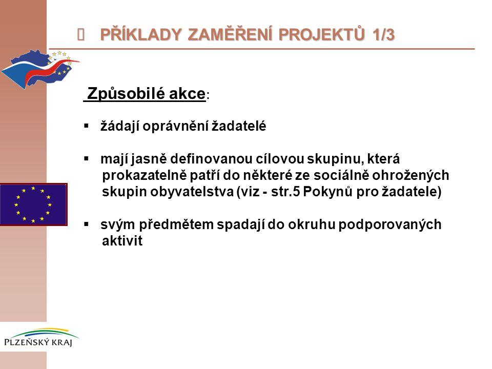 """ PŘÍKLADY ZAMĚŘENÍ PROJEKTŮ 2/3 Okruhy podporovaných aktivit: (více v """"Pokynech pro žadatele str."""