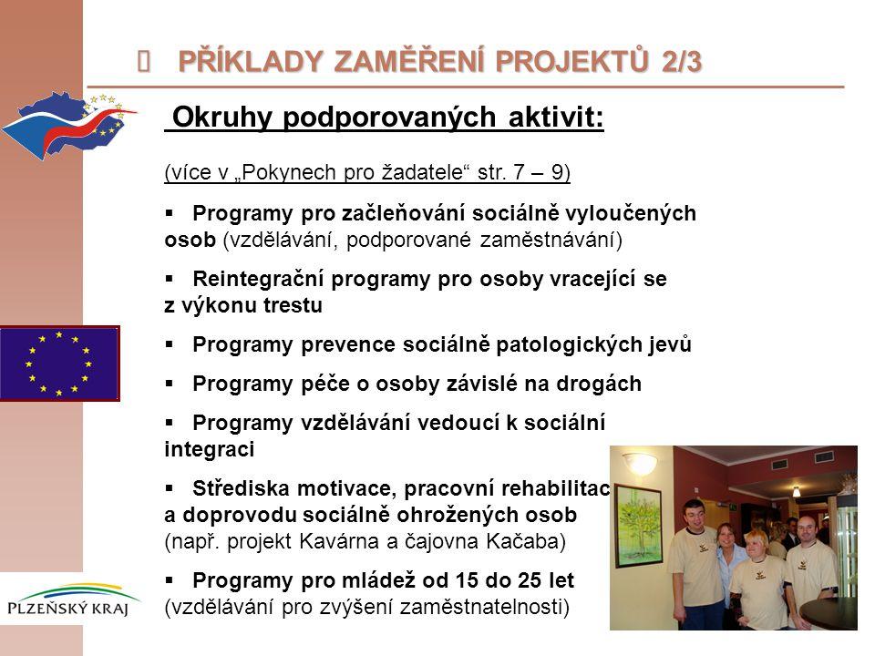 """ PŘÍKLADY ZAMĚŘENÍ PROJEKTŮ 2/3 Okruhy podporovaných aktivit: (více v """"Pokynech pro žadatele"""" str. 7 – 9)  Programy pro začleňování sociálně vylouče"""