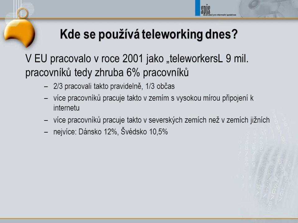 """Kde se používá teleworking dnes? V EU pracovalo v roce 2001 jako """"teleworkersL 9 mil. pracovníků tedy zhruba 6% pracovníků –2/3 pracovali takto pravid"""