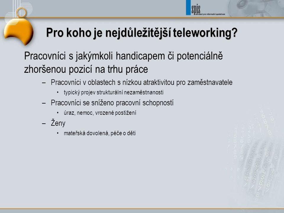Pro koho je nejdůležitější teleworking? Pracovníci s jakýmkoli handicapem či potenciálně zhoršenou pozicí na trhu práce –Pracovníci v oblastech s nízk