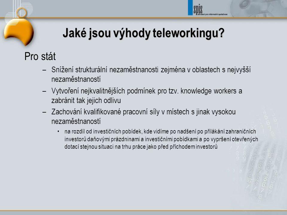 Jaké jsou výhody teleworkingu? Pro stát –Snížení strukturální nezaměstnanosti zejména v oblastech s nejvyšší nezaměstnaností –Vytvoření nejkvalitnější