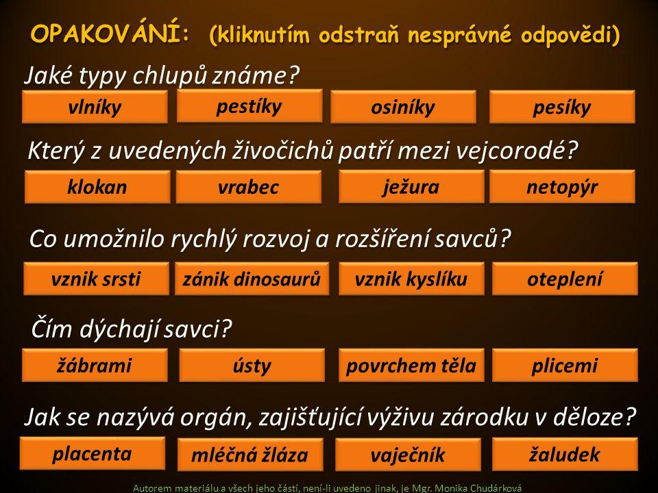 Autorem materiálu a všech jeho částí, není-li uvedeno jinak, je Mgr. Monika Chudárková Jaké typy chlupů známe? vlníky pesíky osiníky pestíky Který z u