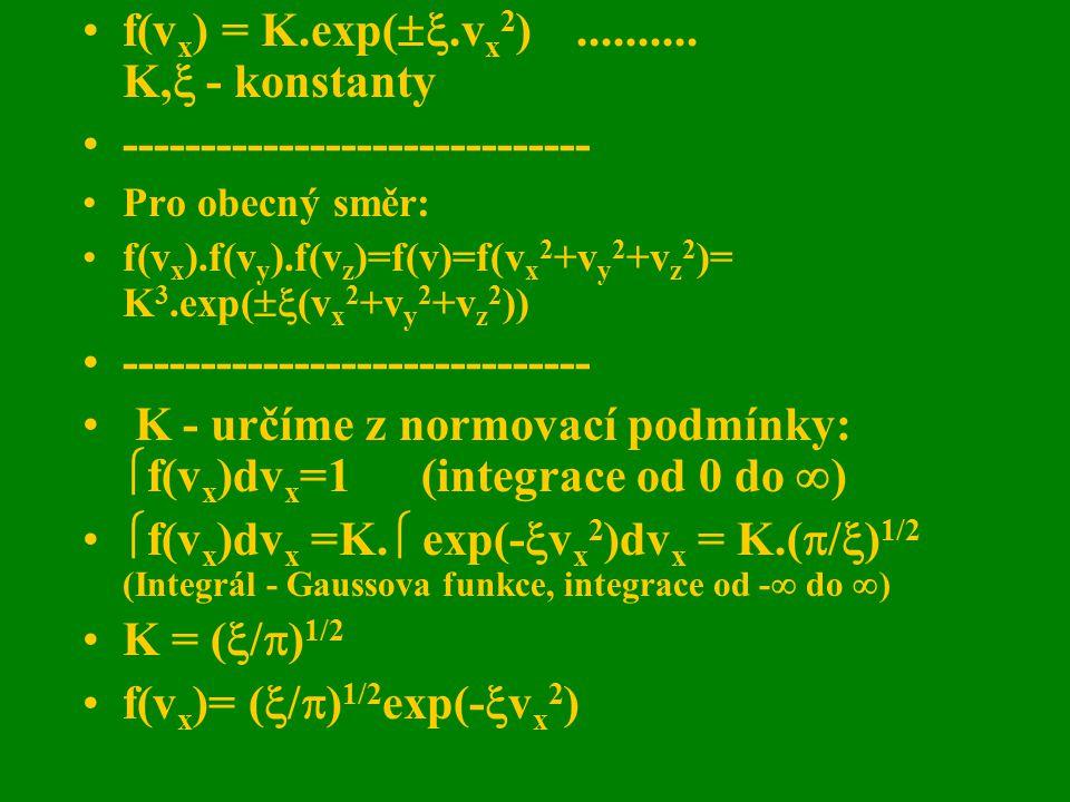 f(v x ) = K.exp( .v x 2 ).......... K,  - konstanty ------------------------------ Pro obecný směr: f(v x ).f(v y ).f(v z )=f(v)=f(v x 2 +v y 2 +v