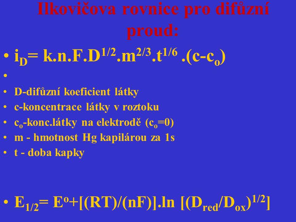 Ilkovičova rovnice pro difůzní proud: i D = k.n.F.D 1/2.m 2/3.t 1/6.(c-c o ) D-difůzní koeficient látky c-koncentrace látky v roztoku c o -konc.látky