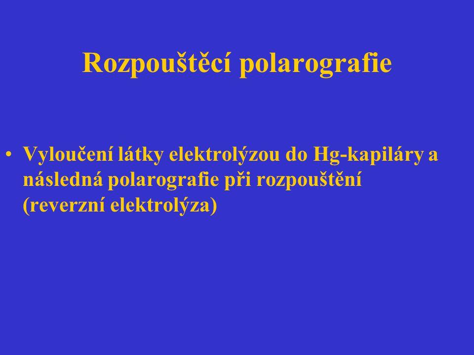 Rozpouštěcí polarografie Vyloučení látky elektrolýzou do Hg-kapiláry a následná polarografie při rozpouštění (reverzní elektrolýza)