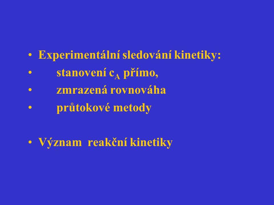 Experimentální sledování kinetiky: stanovení c A přímo, zmrazená rovnováha průtokové metody Význam reakční kinetiky