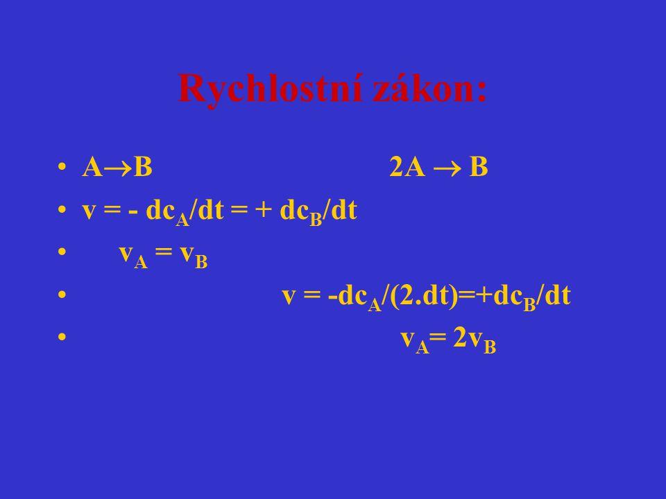 Rychlostní zákon: A  B 2A  B v = - dc A /dt = + dc B /dt v A = v B v = -dc A /(2.dt)=+dc B /dt v A = 2v B