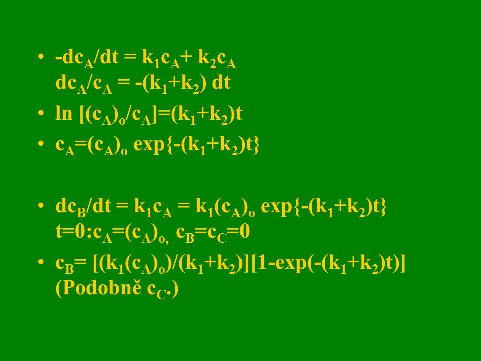 -dc A /dt = k 1 c A + k 2 c A dc A /c A = -(k 1 +k 2 ) dt ln [(c A ) o /c A ]=(k 1 +k 2 )t c A =(c A ) o exp{-(k 1 +k 2 )t} dc B /dt = k 1 c A = k 1 (