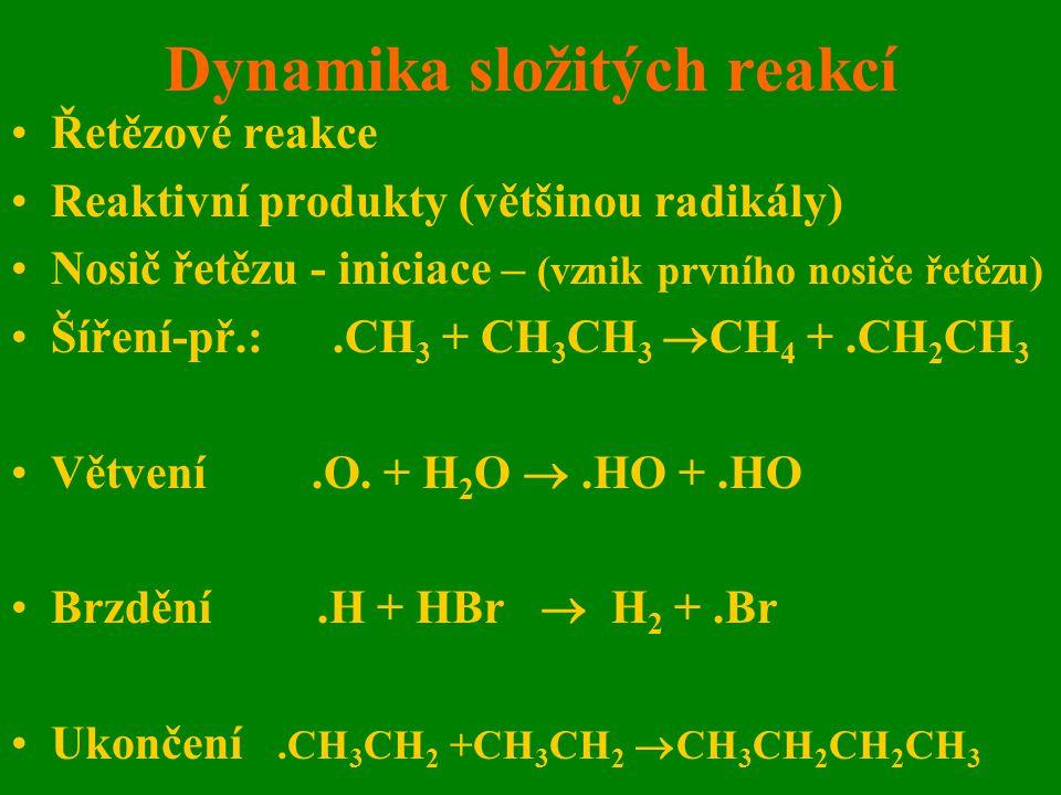 Dynamika složitých reakcí Řetězové reakce Reaktivní produkty (většinou radikály) Nosič řetězu - iniciace – (vznik prvního nosiče řetězu) Šíření-př.:.C