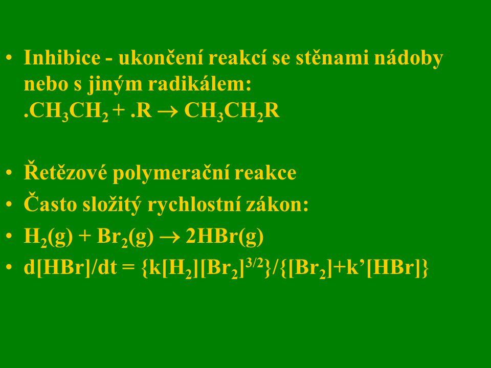 Inhibice - ukončení reakcí se stěnami nádoby nebo s jiným radikálem:.CH 3 CH 2 +.R  CH 3 CH 2 R Řetězové polymerační reakce Často složitý rychlostní
