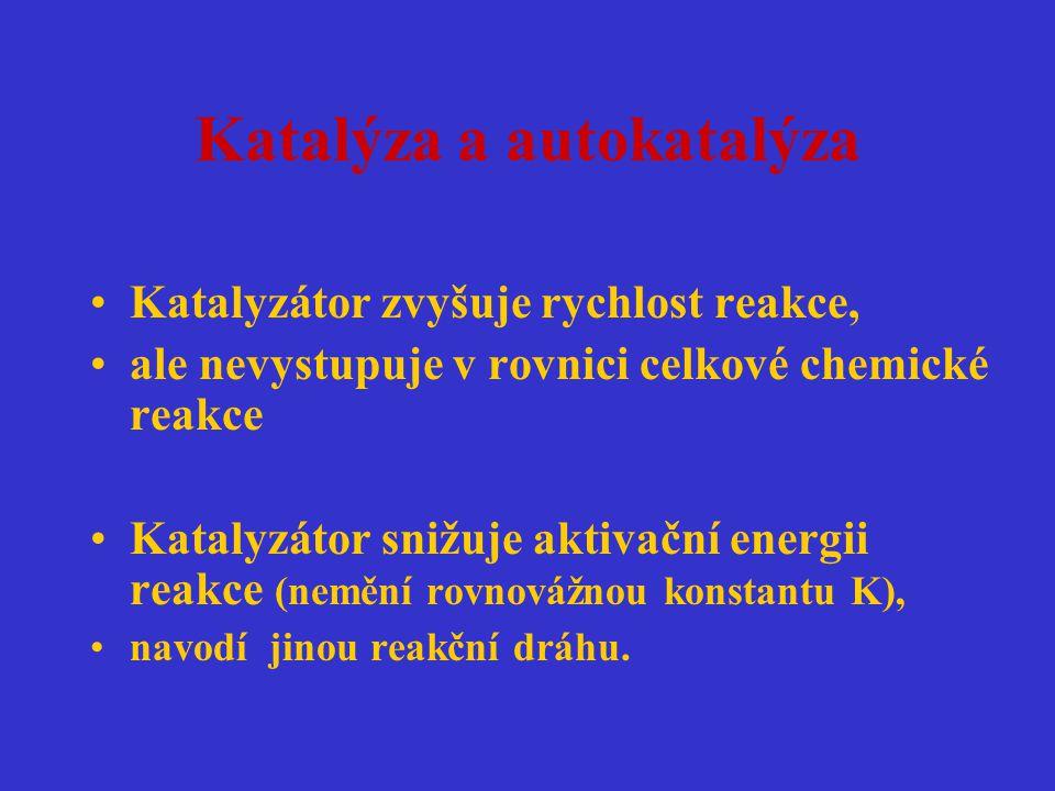Katalýza a autokatalýza Katalyzátor zvyšuje rychlost reakce, ale nevystupuje v rovnici celkové chemické reakce Katalyzátor snižuje aktivační energii r