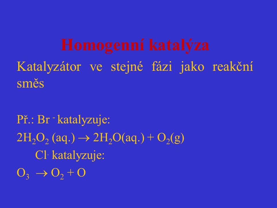 Homogenní katalýza Katalyzátor ve stejné fázi jako reakční směs Př.: Br - katalyzuje: 2H 2 O 2 (aq.)  2H 2 O(aq.) + O 2 (g) Cl. katalyzuje: O 3  O 2