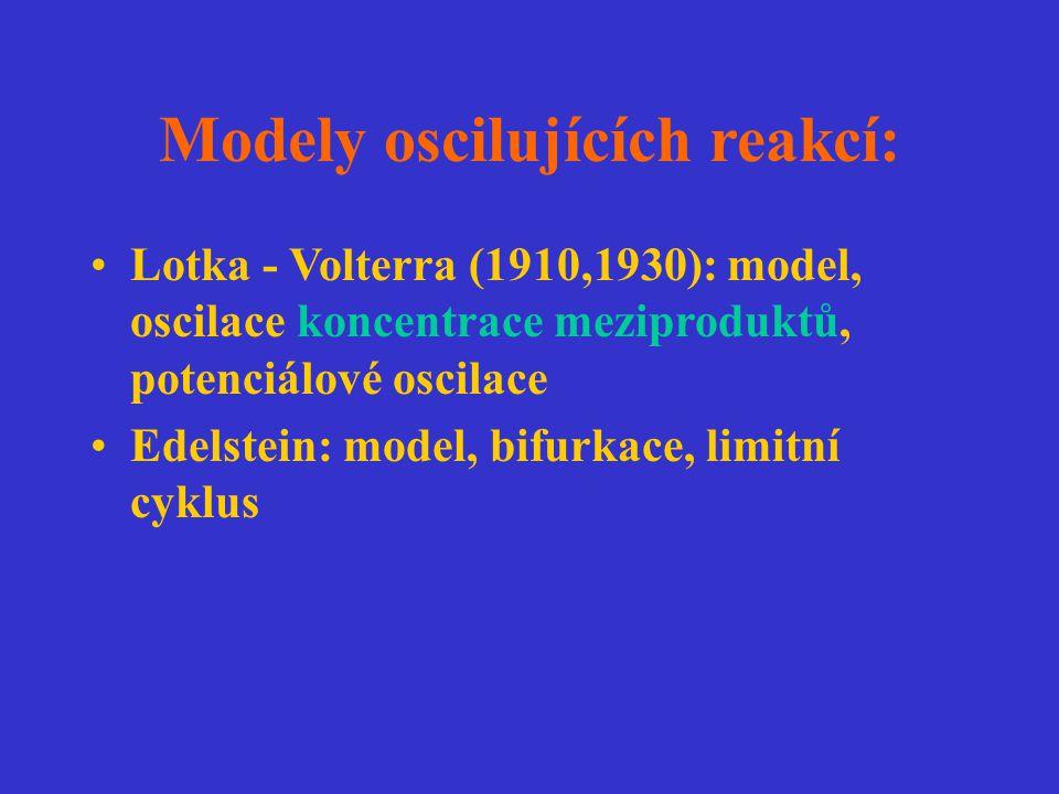 Modely oscilujících reakcí: Lotka - Volterra (1910,1930): model, oscilace koncentrace meziproduktů, potenciálové oscilace Edelstein: model, bifurkace,