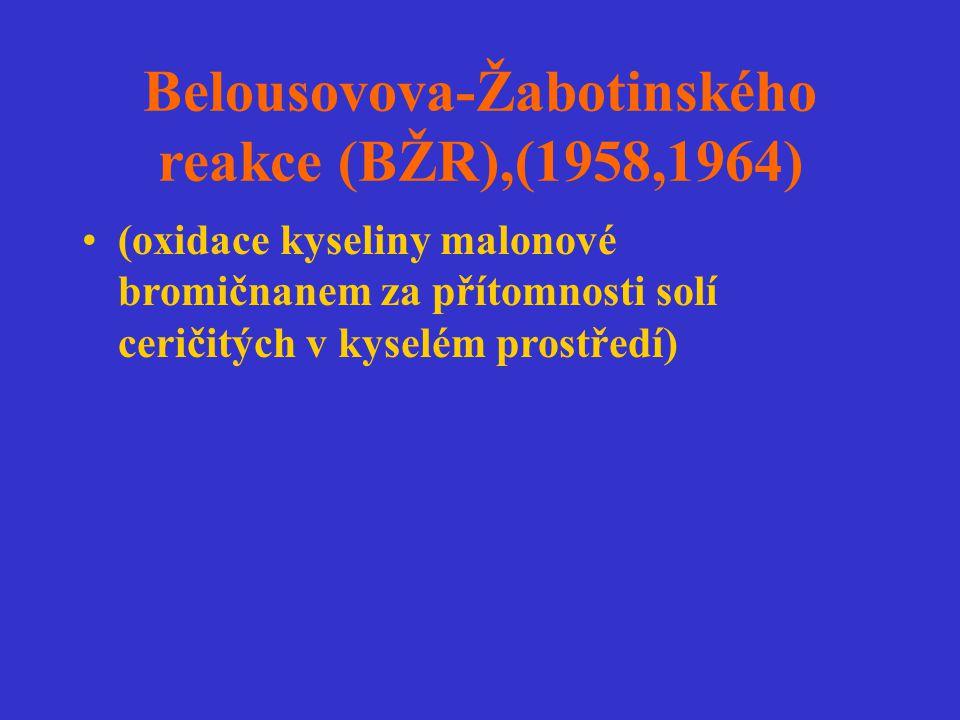 Belousovova-Žabotinského reakce (BŽR),(1958,1964) (oxidace kyseliny malonové bromičnanem za přítomnosti solí ceričitých v kyselém prostředí)