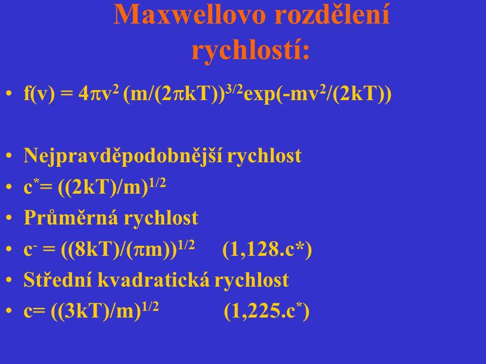 Maxwellovo rozdělení rychlostí: f(v) = 4  v 2 (m/(2  kT)) 3/2 exp(-mv 2 /(2kT)) Nejpravděpodobnější rychlost c * = ((2kT)/m) 1/2 Průměrná rychlost c