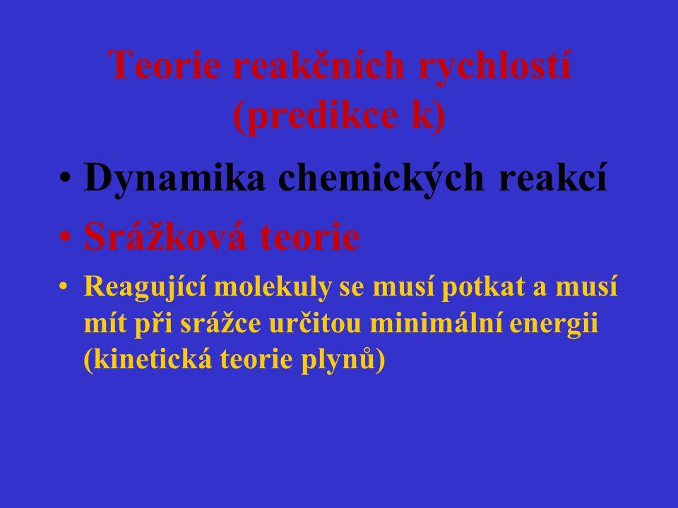 Teorie reakčních rychlostí (predikce k) Dynamika chemických reakcí Srážková teorie Reagující molekuly se musí potkat a musí mít při srážce určitou min