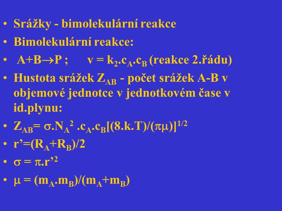 Srážky - bimolekulární reakce Bimolekulární reakce: A+B  P ; v = k 2.c A.c B (reakce 2.řádu) Hustota srážek Z AB - počet srážek A-B v objemové jednot