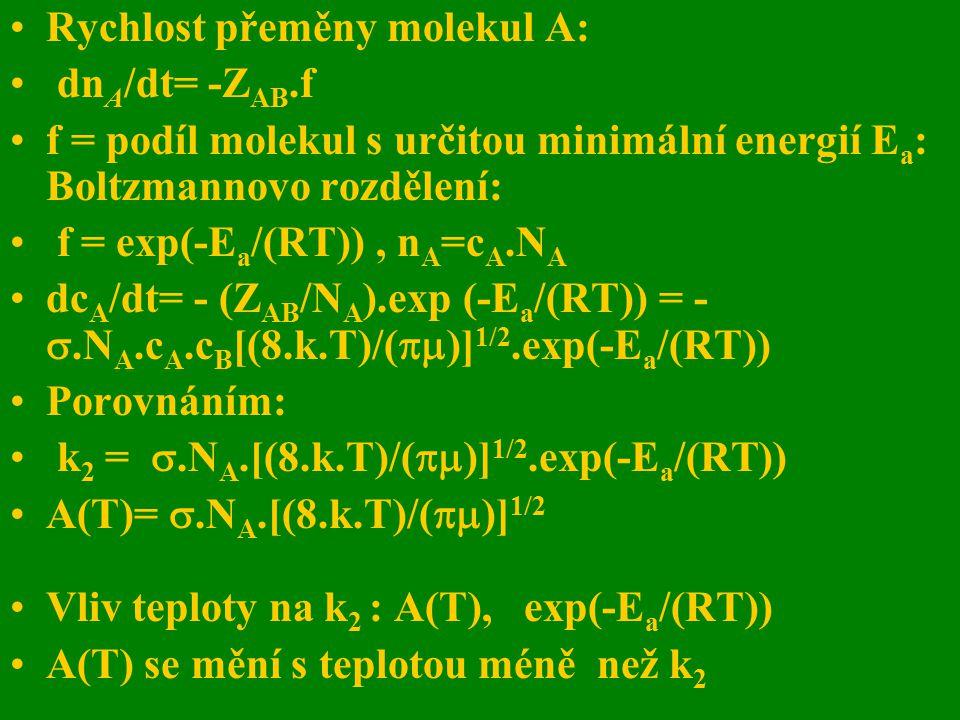 Rychlost přeměny molekul A: dn A /dt= -Z AB.f f = podíl molekul s určitou minimální energií E a : Boltzmannovo rozdělení: f = exp(-E a /(RT)), n A =c
