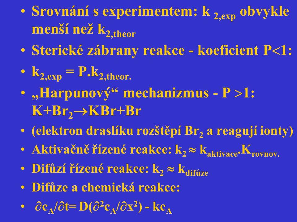 """Srovnání s experimentem: k 2,exp obvykle menší než k 2,theor Sterické zábrany reakce - koeficient P  1: k 2,exp = P.k 2,theor. """"Harpunový"""" mechanizmu"""