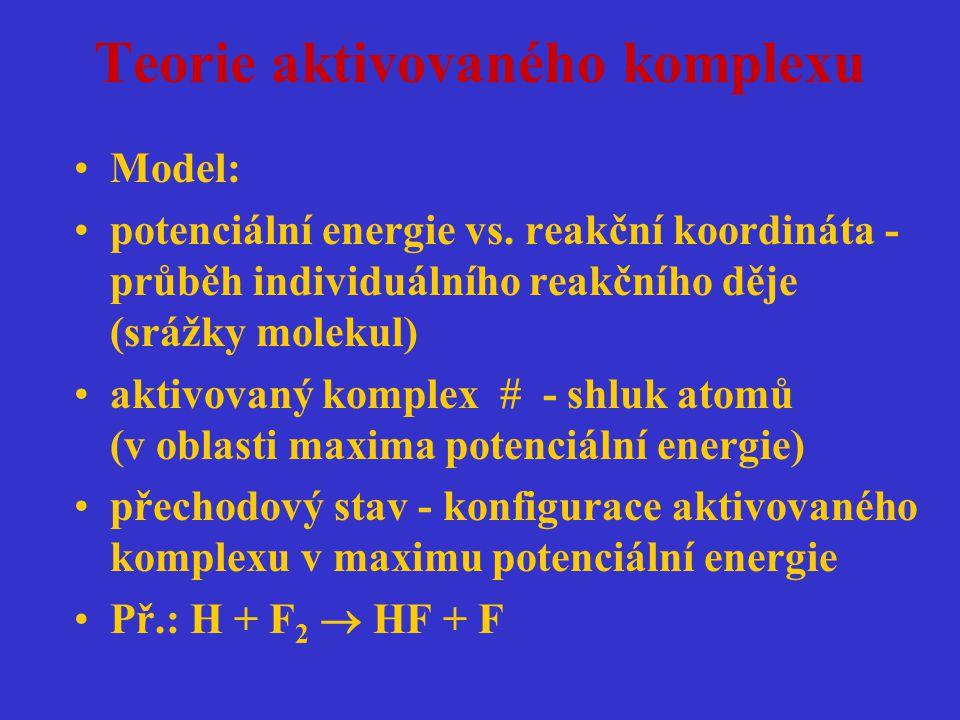 Teorie aktivovaného komplexu Model: potenciální energie vs. reakční koordináta - průběh individuálního reakčního děje (srážky molekul) aktivovaný komp