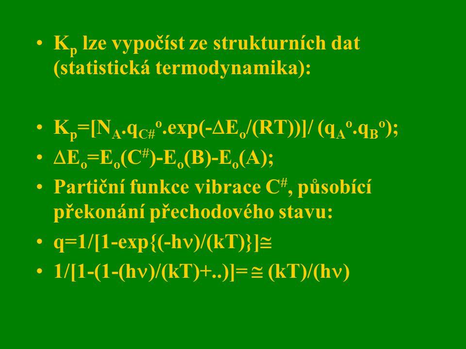 K p lze vypočíst ze strukturních dat (statistická termodynamika): K p =[N A.q C  o.exp(-  E o /(RT))]/ (q A o.q B o );  E o =E o (C  )-E o (B)-E o
