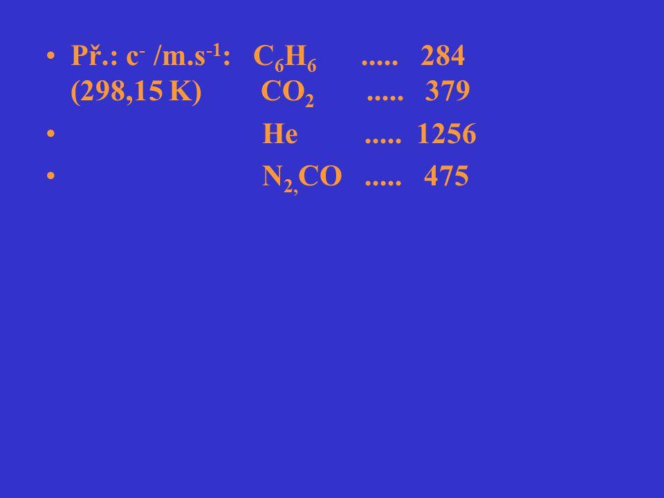 Př.: c - /m.s -1 : C 6 H 6..... 284 (298,15 K) CO 2..... 379 He..... 1256 N 2, CO..... 475