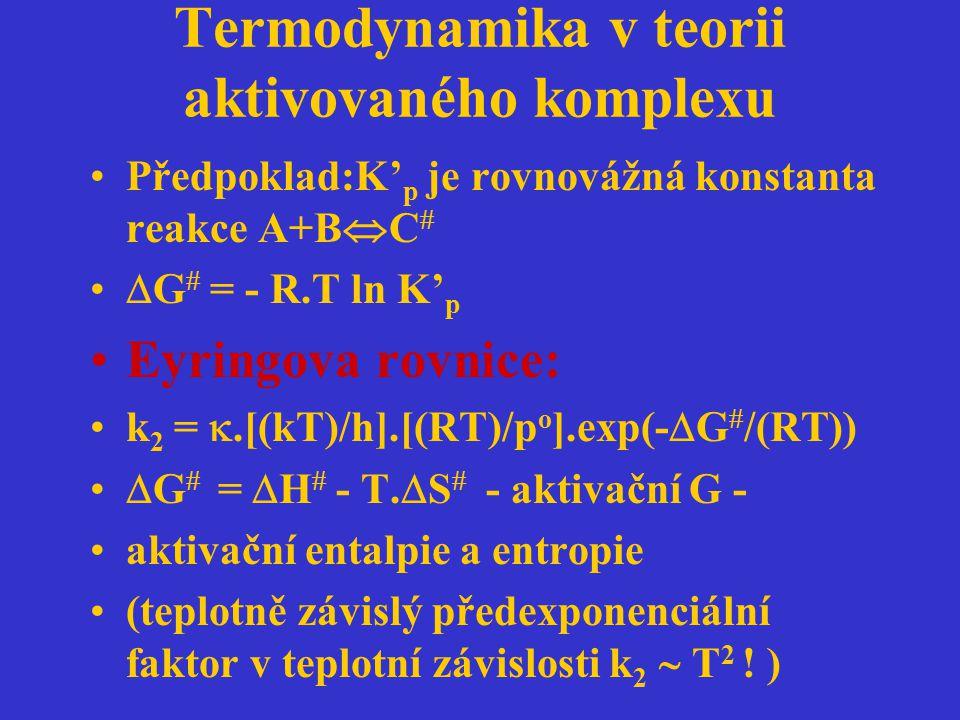 Termodynamika v teorii aktivovaného komplexu Předpoklad:K' p je rovnovážná konstanta reakce A+B  C   G  = - R.T ln K' p Eyringova rovnice: k 2 = 