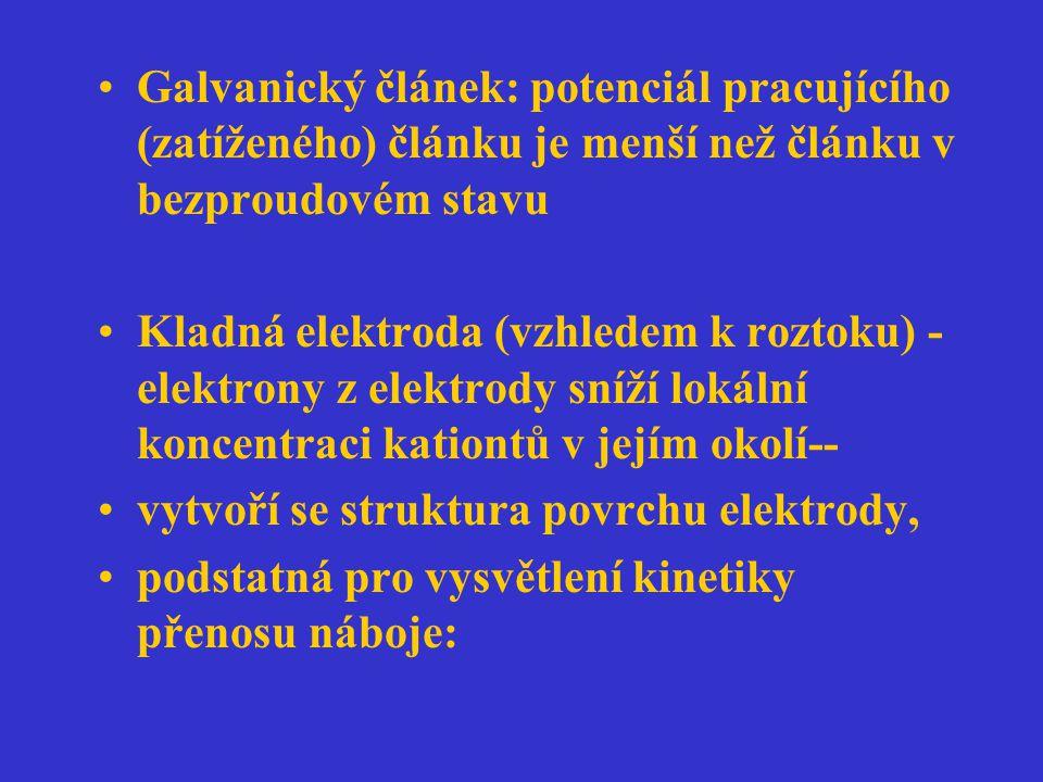 Galvanický článek: potenciál pracujícího (zatíženého) článku je menší než článku v bezproudovém stavu Kladná elektroda (vzhledem k roztoku) - elektron